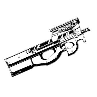 Design vektor gunfn p90 gun
