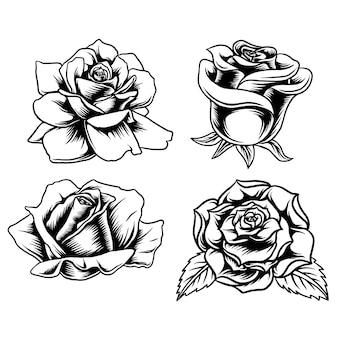 Design-vektor-linien-kunst-set rose