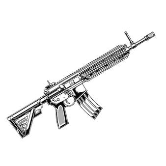 Design-vektor-schwarz-weiß-pistole hk416