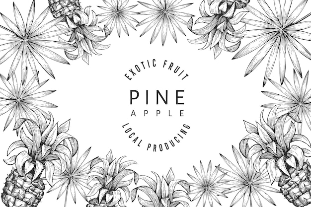 Design von ananas und tropischen blättern