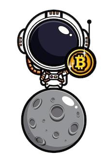 Design von astronauten, die bitcoin auf dem mond halten