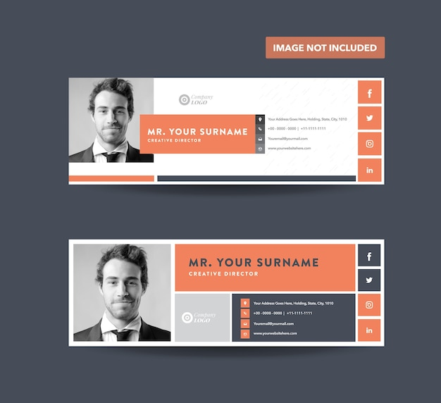 Design von e-mail-signaturvorlagen, e-mail-fußzeile, persönliches social media-cover