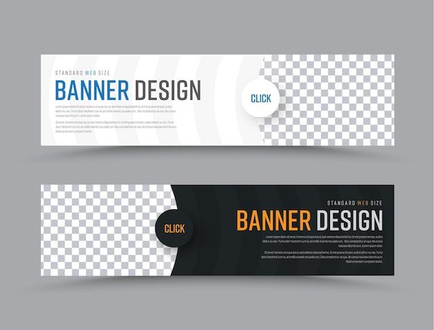 Design von horizontalen vektor-web-bannern mit halbkreisförmigen elementen und einem platz für fotos.