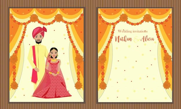 Design von indischen paaren im traditionellen hochzeitskleid auf hochzeitseinladungskarte