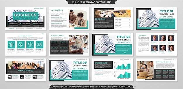 Design von mehrzweck-präsentationslayoutvorlagen mit klarem und minimalistischem konzept