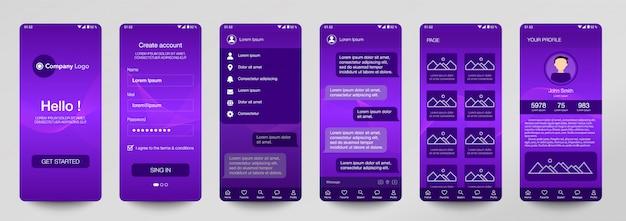 Design von set mobile application, ui, ux.