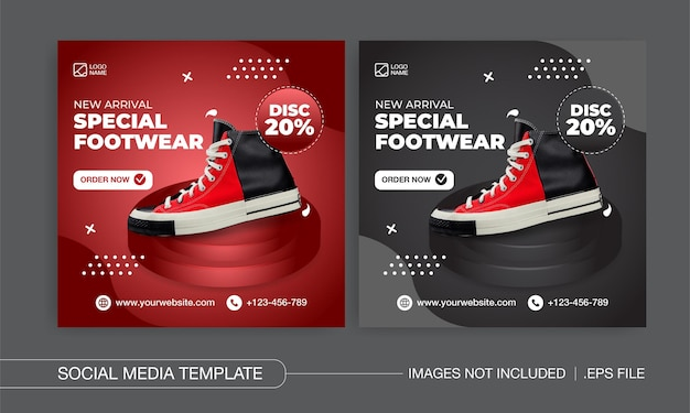 Design von social-media-posts für spezielle schuhe und mode premium-vektor