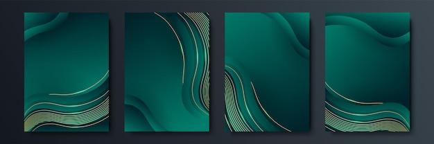 Design von vektorminimalistischen covern mit farbverlauf und geometrischen, sich schneidenden linienformen. dunkelgrünes und goldenes bannerdesign. modernes cover-vorlagen-set