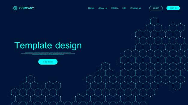 Design von website-vorlagen. ziehen sie wissenschaftlichen hintergrund mit bunten dynamischen wellen, sechseckigem innovationsmuster an. moderne landingpage für websites oder apps. .