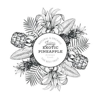Design-vorlage für ananas und tropische blätter. hand gezeichnete tropische fruchtillustration. gravierter stil. retro botanischer rahmen.
