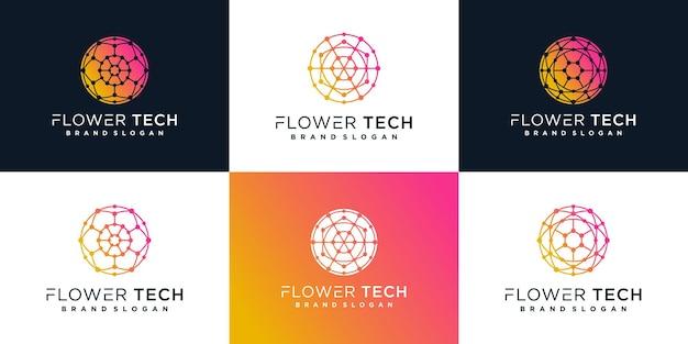 Design-vorlage für das blumen-tech-logo mit modernem farbverlaufskonzept premium vekto