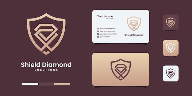 Design-vorlage für das design des kreativen schilddiamant-logos.