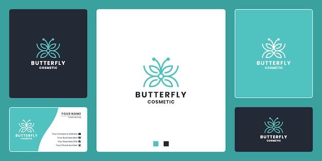 Design-vorlage für das kosmetische logo der schmetterlingsschönheit