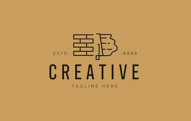Design-vorlage für das logo der gipsziegelwand moderne logo-linien-designvorlage für den ziegelbau premium