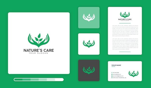 Design-vorlage für das pflege-logo der natur