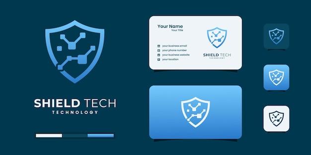 Design-vorlage für das schild-tech-logo. minimales kybernetisches logo für ihr unternehmen.