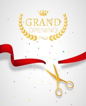 Design-vorlage für die eröffnung mit band und schere. grand open ribbon cut konzept.