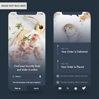 Design-vorlage für die food-app-benutzeroberfläche