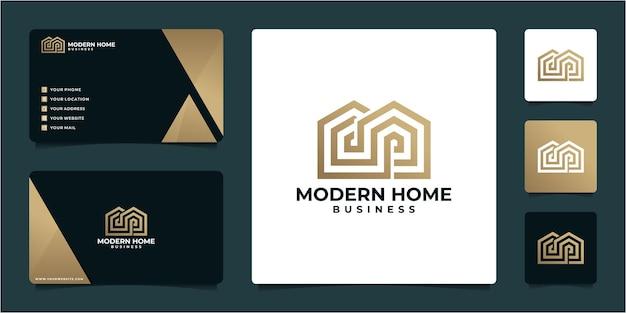 Design-vorlage für gebäudelogo und visitenkarte