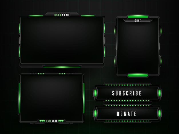 Design-vorlage für grünes gaming-panel-set