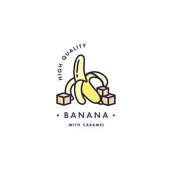 Design vorlage logo und emblem - geschmack und flüssigkeit für vape - banane mit karamell. logo im trendigen linearen stil.