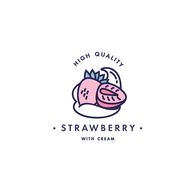 Design vorlage logo und emblem - geschmack und flüssigkeit für vape - erdbeere mit sahne. logo im trendigen linearen stil.