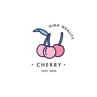 Design vorlage logo und emblem - geschmack und flüssigkeit für vape - kirsche. logo im trendigen linearen stil.