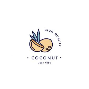Design vorlage logo und emblem - geschmack und flüssigkeit für vape - kokosnuss. logo im trendigen linearen stil.