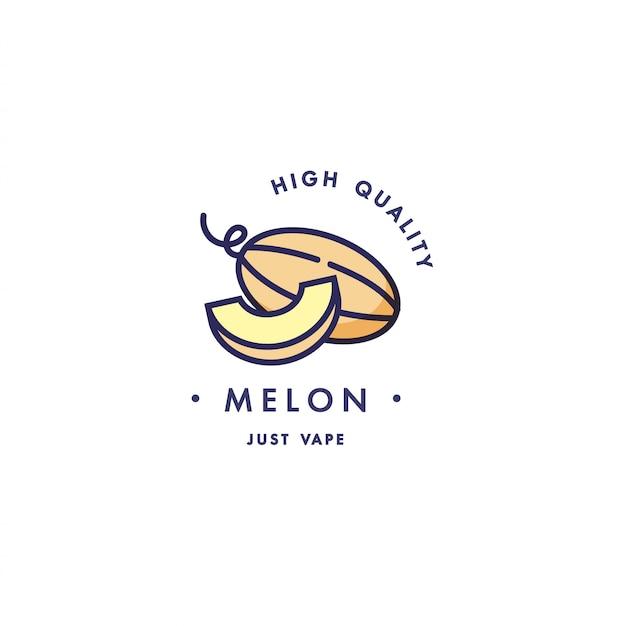 Design vorlage logo und emblem - geschmack und flüssigkeit für vape - melone. logo im trendigen linearen stil.