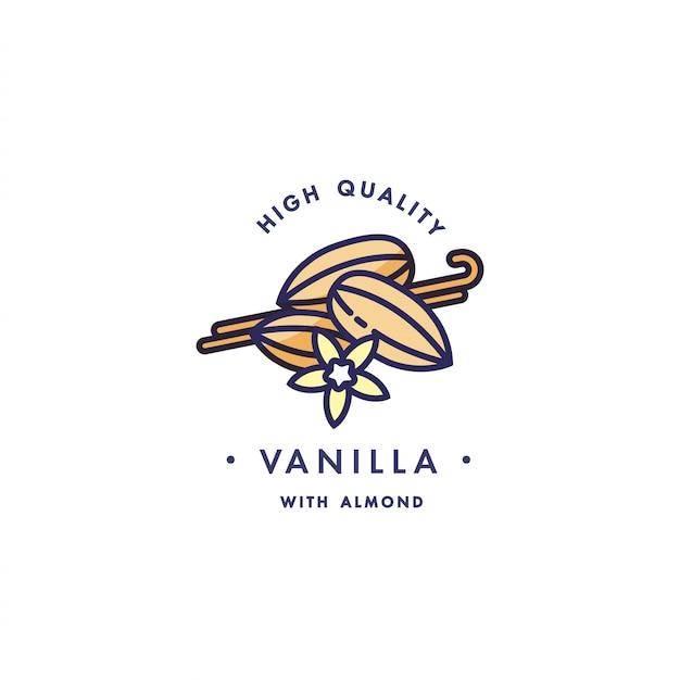 Design vorlage logo und emblem - geschmack und flüssigkeit für vape - vanille mit mandel. logo im trendigen linearen stil.