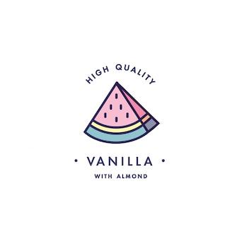 Design vorlage logo und emblem - geschmack und flüssigkeit für vape - wassermelone. logo im trendigen linearen stil.