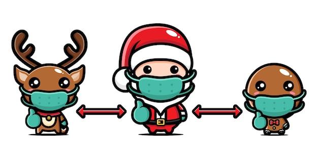 Design weihnachtsmann, weihnachtsrentier und lebkuchen tragen masken