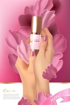 Design-werbeplakat für kosmetikprodukt mit rosenblättern für katalogmagazin kosmetikpaket parfüm-werbeplakat feuchtigkeitsspendende toner-creme-gel-körperlotion rosa flüssige blütenblätter