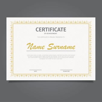 Design zertifikat vorlage klassisches gold