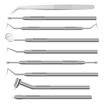 Designabbildung der zahnärztlichen instrumente und werkzeuge lokalisiert auf weißem hintergrund