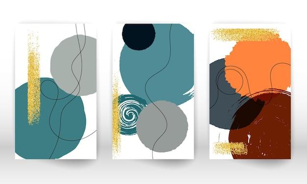 Designabdeckung für aquarelleffekt. satz abstrakte handgezeichnete geometrische formen. gekritzellinien, goldene partikel.