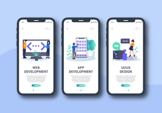 Designagentur app set von onboarding-bildschirm mobile benutzeroberfläche