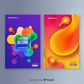 Designbezüge mit farbenfrohem flüssigeffekt
