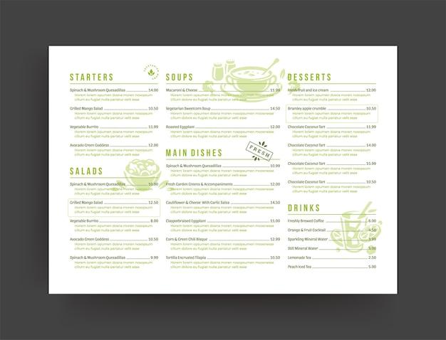 Designbroschüre für vegetarisches restaurantmenü-layout
