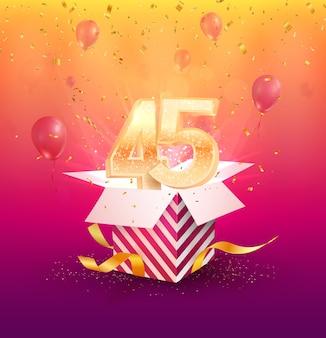 Designelement zum 45-jährigen jubiläum mit geschenkbox, luftballons und konfetti