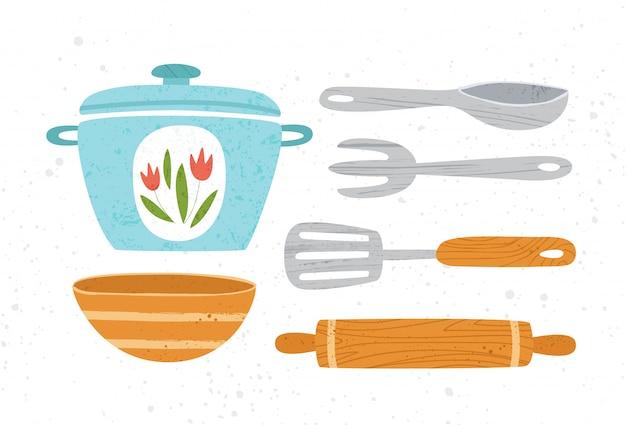 Designelemente für küchenutensilien oder küchenutensilien - kochpfanne, löffel, schüssel, gabel isoliert auf weiß