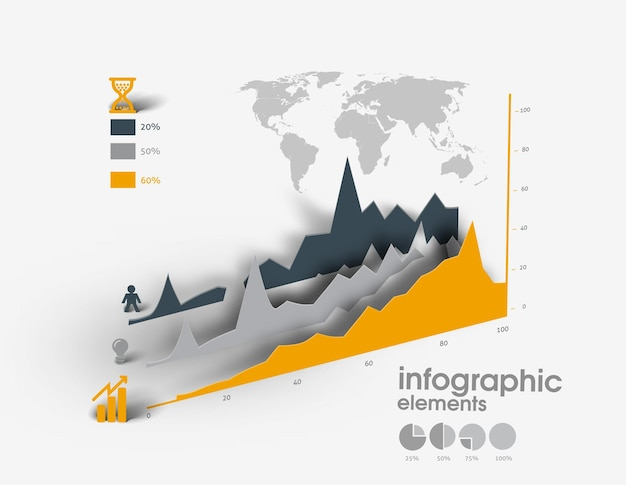 Designelemente von business-infografiken set von 3d-infografiken mit 3d-schatten