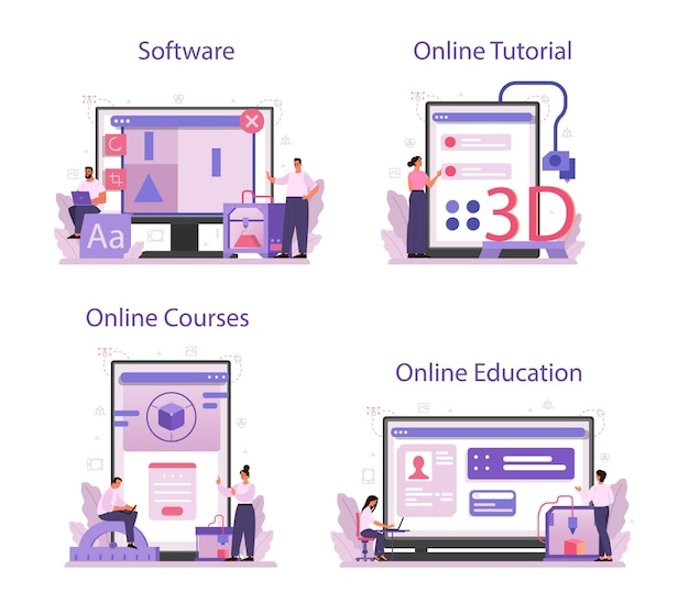 Designer 3d-modellierung online-service oder plattform-set