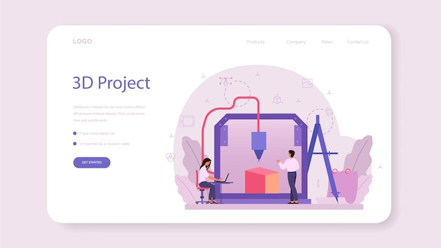 Designer 3d-modellierung web-banner oder landing page