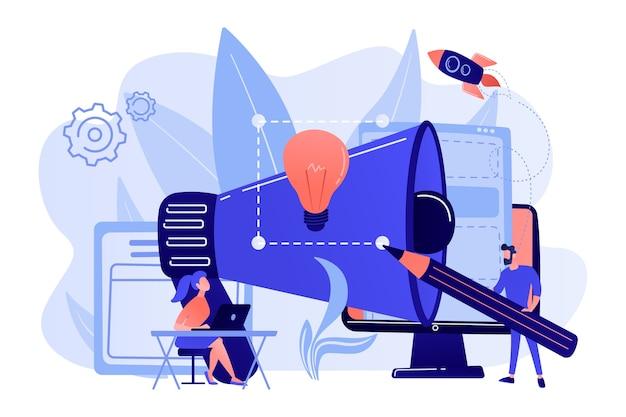 Designer arbeiten an einer neuen marke und einem großen megaphon. markenidentität und logo, visitenkarte, werbung und grafikdesignkonzept auf weißem hintergrund.
