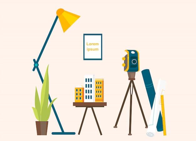 Designer-arbeitsplatz für die erstellung von projekten