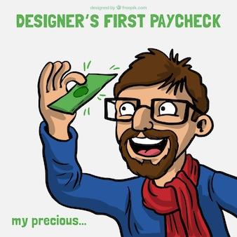 Designer erste gehaltsscheck witz