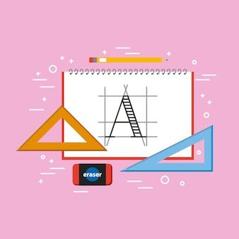 Designer notebook dreieck lineal radiergummi und bleistift werkzeuge