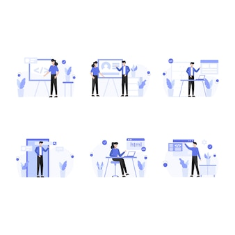 Designer recherchieren, erstellen und präsentieren websites und app-illustrationen