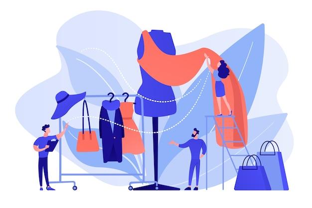 Designer-team arbeitet an einer neuen kleiderkollektion und einem stück stoff auf einer schaufensterpuppe. modebranche, bekleidungsmarkt, modegeschäftskonzept. isolierte illustration des rosa korallenblauvektors